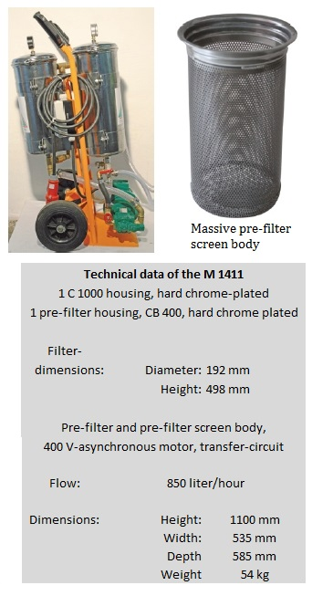 Mobile ultra fine filter system M 1411